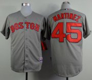 Wholesale Red Sox #45 Pedro Martinez Grey Cool Base Stitched Baseball Jersey