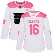 Wholesale Cheap Adidas Flyers #16 Bobby Clarke White/Pink Authentic Fashion Women's Stitched NHL Jersey