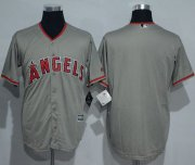 Wholesale Cheap Angels of Anaheim Blank Grey New Cool Base Stitched MLB Jersey