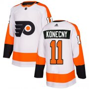 Wholesale Cheap Adidas Flyers #11 Travis Konecny White Road Authentic Stitched Youth NHL Jersey
