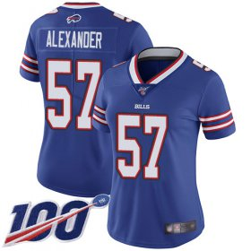 Wholesale Cheap Nike Bills #57 Lorenzo Alexander Royal Blue Team Color Women\'s Stitched NFL 100th Season Vapor Limited Jersey