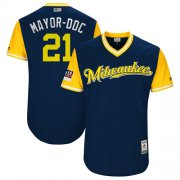 "Wholesale Cheap Brewers #21 Travis Shaw Navy ""Mayor-DDC"" Players Weekend Authentic Stitched MLB Jersey"
