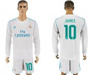 Wholesale Cheap Real Madrid #10 James White Home Long Sleeves Soccer Club Jersey