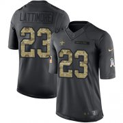 Wholesale Cheap Nike Saints #23 Marshon Lattimore Black Youth Stitched NFL Limited 2016 Salute to Service Jersey