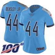 Wholesale Cheap Nike Titans #44 Vic Beasley Jr Light Blue Alternate Women's Stitched NFL 100th Season Vapor Untouchable Limited Jersey