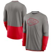Wholesale Cheap Kansas City Chiefs Nike Sideline Player Performance Long Sleeve T-Shirt Heathered Gray Red