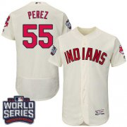 Wholesale Cheap Indians #55 Roberto Perez Cream Flexbase Authentic Collection 2016 World Series Bound Stitched MLB Jersey