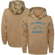 Wholesale Cheap Youth Los Angeles Chargers Nike Khaki 2019 Salute to Service Therma Pullover Hoodie