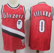 Wholesale Cheap A Bathing Ape Blazers #0 Damian Lillard Red Stitched Basketball Jersey