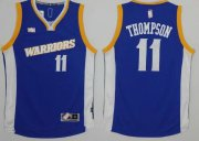Wholesale Cheap Men's Golden State Warriors #11 Klay Thompson Blue Retro Stitched NBA 2016 Adidas Revolution 30 Swingman Jersey