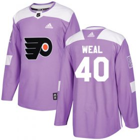 Wholesale Cheap Adidas Flyers #40 Jordan Weal Purple Authentic Fights Cancer Stitched NHL Jersey