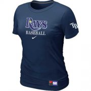 Wholesale Cheap Women's Tampa Bay Rays Nike Short Sleeve Practice MLB T-Shirt Midnight Blue