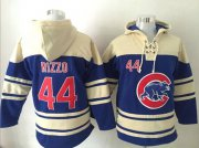 Wholesale Cheap Cubs #44 Anthony Rizzo Blue Sawyer Hooded Sweatshirt MLB Hoodie