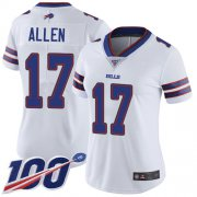 Wholesale Cheap Nike Bills #17 Josh Allen White Women's Stitched NFL 100th Season Vapor Limited Jersey