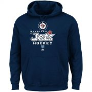 Wholesale Cheap Winnipeg Jets Majestic Critical Victory Pullover Hoodie Sweatshirt Navy Blue