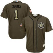 Wholesale Cheap Astros #1 Carlos Correa Green Salute to Service Stitched Youth MLB Jersey