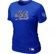 Wholesale Cheap Women's New York Mets Nike Short Sleeve Practice MLB T-Shirt Blue