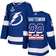 Cheap Adidas Lightning #22 Kevin Shattenkirk Blue Home Authentic USA Flag Youth 2020 Stanley Cup Champions Stitched NHL Jersey