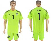Wholesale Cheap Sweden #1 Olsen Shiny Green Goalkeeper Soccer Country Jersey