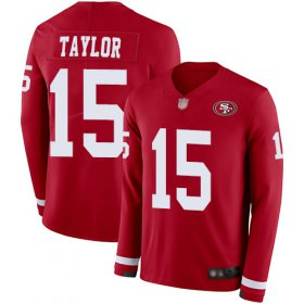 Wholesale Cheap Nike 49ers #15 Trent Taylor Red Team Color Men\'s Stitched NFL Limited Therma Long Sleeve Jersey