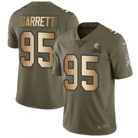 Wholesale Cheap Nike Browns #95 Myles Garrett Olive/Gold Youth Stitched NFL Limited 2017 Salute to Service Jersey