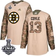 Wholesale Cheap Adidas Bruins #13 Charlie Coyle Camo Authentic 2017 Veterans Day 2019 Stanley Cup Final Stitched NHL Jersey