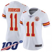 Wholesale Cheap Nike Chiefs #11 Demarcus Robinson White Women's Stitched NFL 100th Season Vapor Limited Jersey