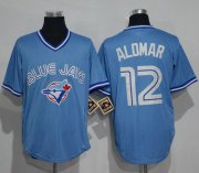 Wholesale Cheap Blue Jays #12 Roberto Alomar Light Blue Cooperstown Throwback Stitched MLB Jersey
