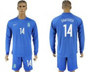Wholesale Cheap Greece #14 Dimitrios Away Long Sleeves Soccer Country Jersey
