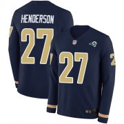 Wholesale Cheap Nike Rams #27 Darrell Henderson Navy Blue Team Color Men's Stitched NFL Limited Therma Long Sleeve Jersey