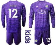 Wholesale Cheap Leicester City #12 Ward Purple Goalkeeper Long Sleeves Kid Soccer Club Jersey