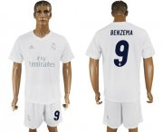 Wholesale Cheap Real Madrid #9 Benzema Marine Environmental Protection Home Soccer Club Jersey