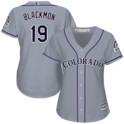 Wholesale Cheap Rockies #19 Charlie Blackmon Grey Road Women's Stitched MLB Jersey