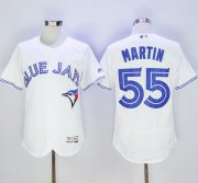 Wholesale Cheap Blue Jays #55 Russell Martin White Flexbase Authentic Collection Stitched MLB Jersey