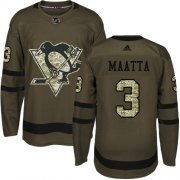 Wholesale Cheap Adidas Penguins #3 Olli Maatta Green Salute to Service Stitched Youth NHL Jersey