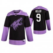 Wholesale Cheap Adidas Coyotes #9 Clayton Keller Men's Black Hockey Fights Cancer Practice NHL Jersey