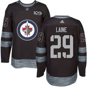 Wholesale Cheap Adidas Jets #29 Patrik Laine Black 1917-2017 100th Anniversary Stitched NHL Jersey