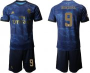 Wholesale Cheap Real Madrid #9 Benzema Dark Blue Soccer Club Jersey