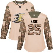 Wholesale Cheap Adidas Ducks #25 Ondrej Kase Camo Authentic 2017 Veterans Day Women's Stitched NHL Jersey