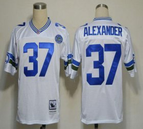 Wholesale Cheap Mitchell And Ness Seahawks #37 Shaun Alexander White Stitched Throwback NFL Jersey