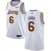 Cheap Youth Lakers #6 LeBron James White Basketball Swingman Association Edition Jersey
