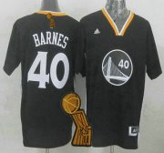 Wholesale Cheap Golden State Warriors #40 Harrison Barnes Revolution 30 Swingman 2014 New Black Short-Sleeved Jersey With 2015 Finals Champions Patch