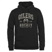 Wholesale Cheap Men's Edmonton Oilers Black Camo Stack Pullover Hoodie