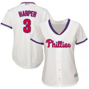 Wholesale Cheap Phillies #3 Bryce Harper Cream Alternate Women's Stitched MLB Jersey