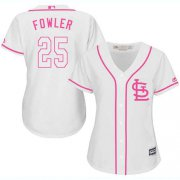 Wholesale Cheap Cardinals #25 Dexter Fowler White/Pink Fashion Women's Stitched MLB Jersey