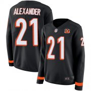 Wholesale Cheap Nike Bengals #21 Mackensie Alexander Black Team Color Women's Stitched NFL Limited Therma Long Sleeve Jersey