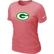 Wholesale Cheap Women's Nike Green Bay Packers Pink Logo T-Shirt