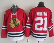 Wholesale Cheap Blackhawks #21 Stan Mikita Stitched Red CCM Throwback NHL Jersey