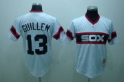 Wholesale Mitchell and Ness White Sox #13 Ozzie Guillen Stitched White Throwback Baseball Jersey