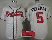 Wholesale Cheap Braves #5 Freddie Freeman White Cool Base Autographed Stitched MLB Jersey